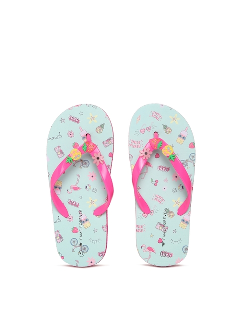 Fame Forever by Lifestyle Girls Pink & Blue Printed Thong Flip-Flops