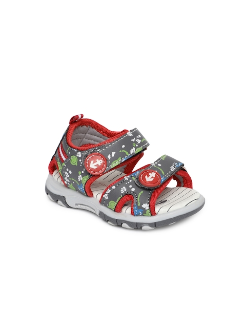 Fame Forever by Lifestyle Boys Grey & Red Printed Comfort Sandals