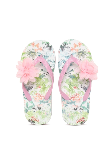 Fame Forever by Lifestyle Girls Pink Printed Thong Flip-Flops