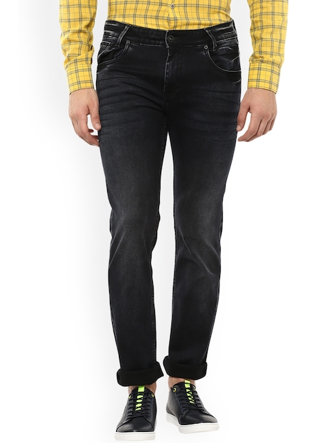 Mufti Men Black & Grey Slim Fit Mid-Rise Clean Look Jeans