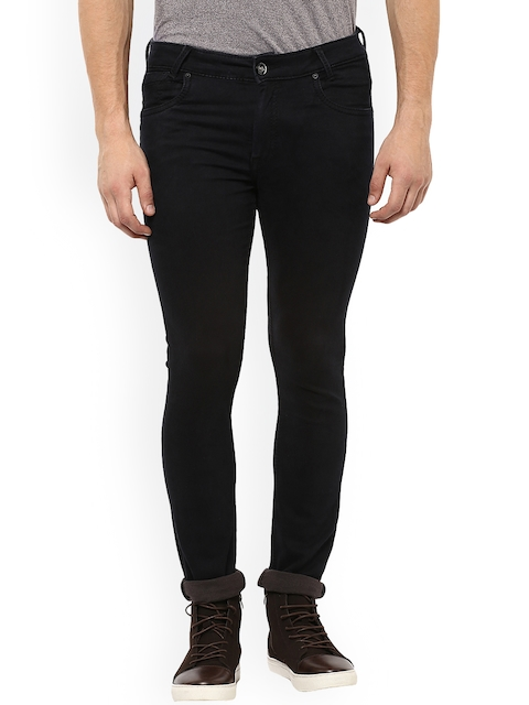 Mufti Men Black Skinny Fit Mid-Rise Clean Look Stretchable Jeans