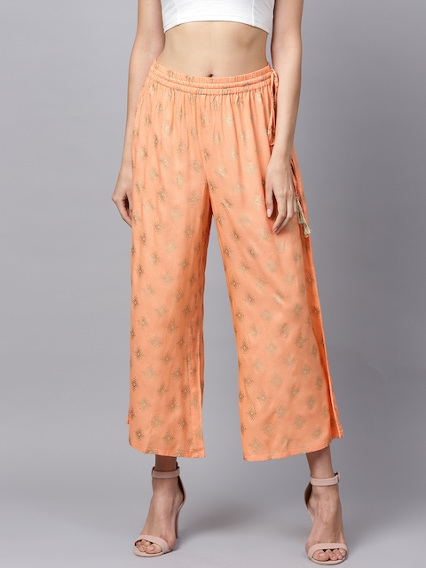 Varanga Women Peach-Coloured & Golden Straight Foil Print Palazzos