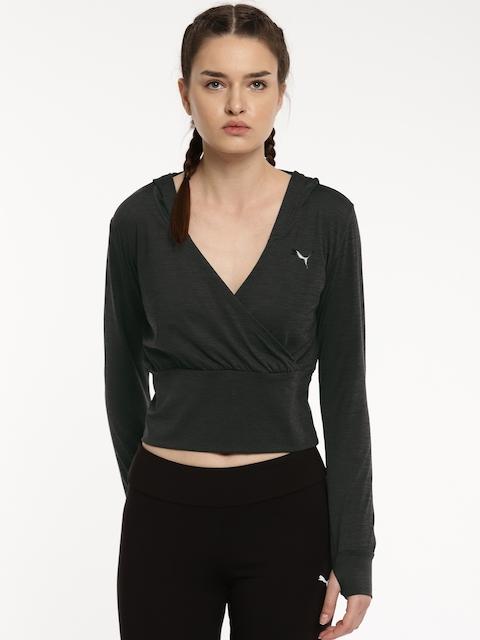 Puma Black SOFT SPORT Light Cover Up Crop Sweatshirt