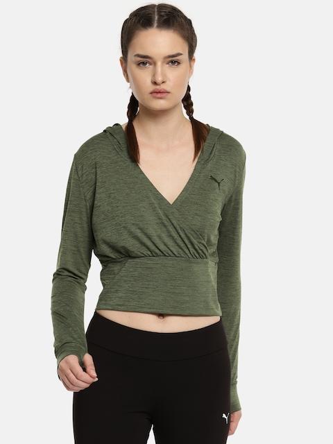 Puma Green SOFT SPORT Light Cover Up Crop Sweatshirt