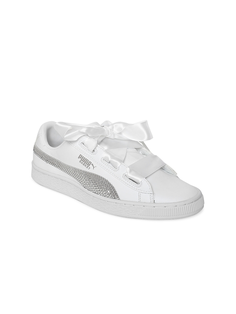 Puma Girls White Basket Heart Bling Casual Shoes