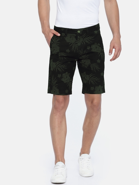 Lee Cooper Men Olive Green Printed Slim Fit Chino Shorts