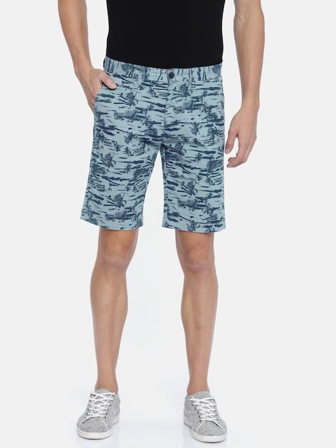 Lee Cooper Men Blue Printed Regular Fit Chino Shorts