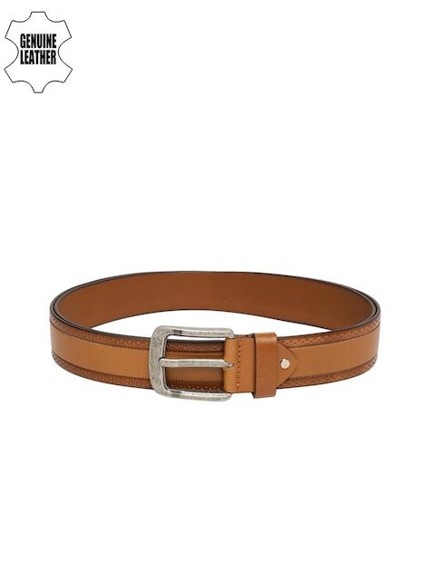 Peter England Men Tan Brown Textured Genuine Leather Belt