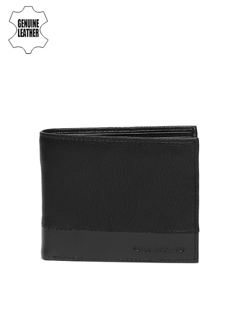 Peter England Men Black Solid Two Fold Genuine Leather Wallet