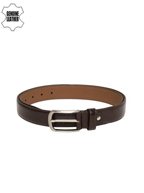 Peter England Men Brown Textured Genuine Leather Belt