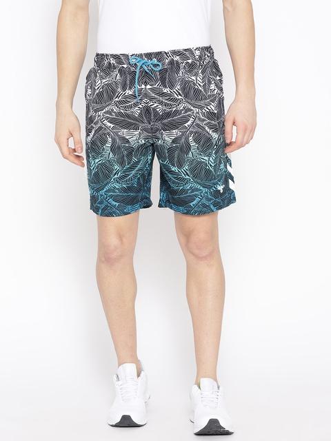 hummel Hommes Bleu & Blanc Parc Imprimé Shorts de Sport