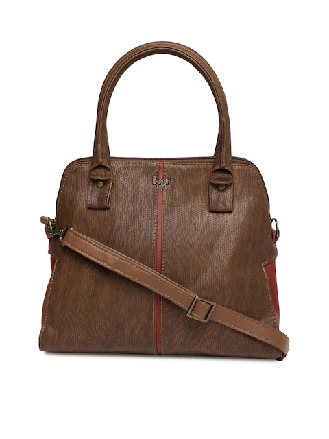 Baggit Brown Textured Handheld Bag