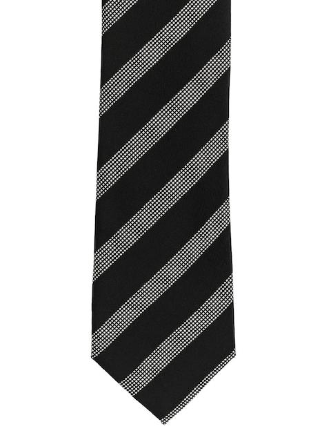 The Tie Hub Black & Grey Striped Broad Tie