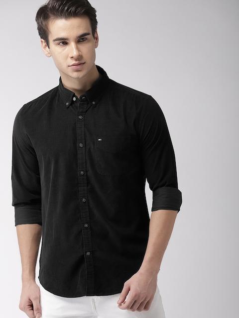 Tommy Hilfiger Men Black New York Slim Fit Solid Casual Corduroy Shirt