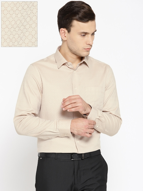 Blackberrys Men Beige Slim Fit Self Design Formal Shirt