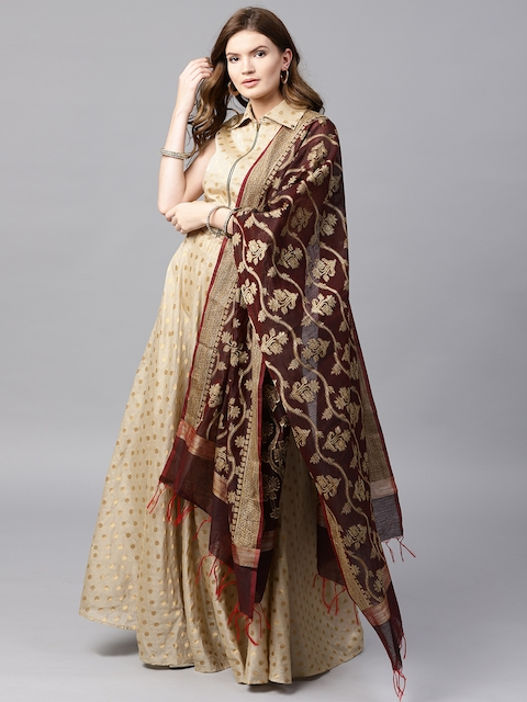 Inddus Beige & Maroon Woven Design Semi-Stitched Lehenga & Unstitched Blouse with Dupatta