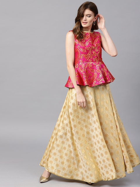 Inddus Beige & Pink Semi-Stitched Lehenga with Unstitched Blouse