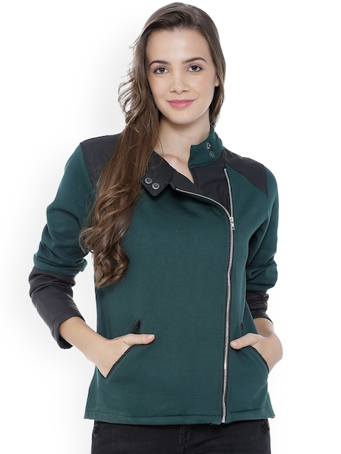 Campus Sutra Women Olive Green Solid Tailored Jacket