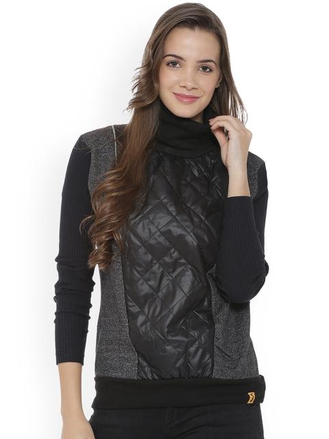 Campus Sutra Women Charcoal Self Design Sweatshirt