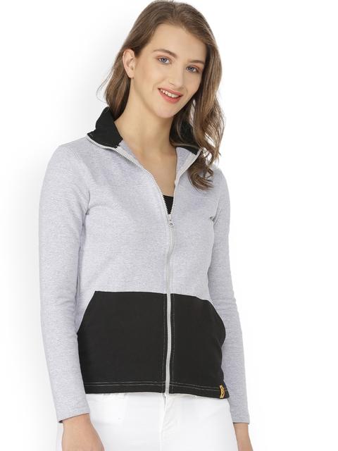 Campus Sutra Women Grey Colourblocked Sweatshirt