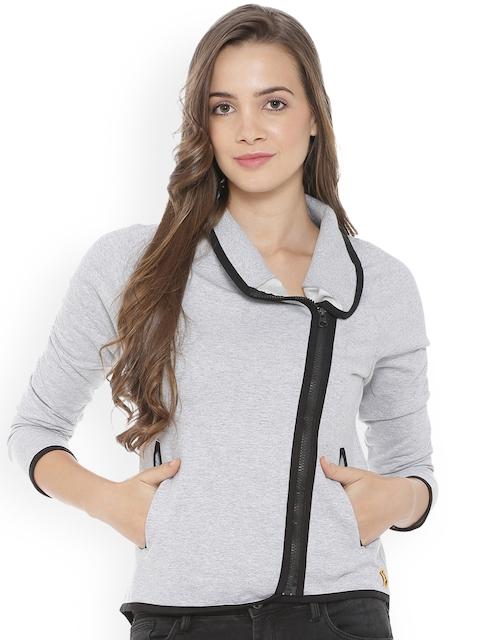 Campus Sutra Women Grey Solid Sweatshirt