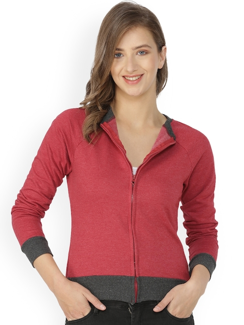 Campus Sutra Women Red & Grey Colourblocked Sweatshirt