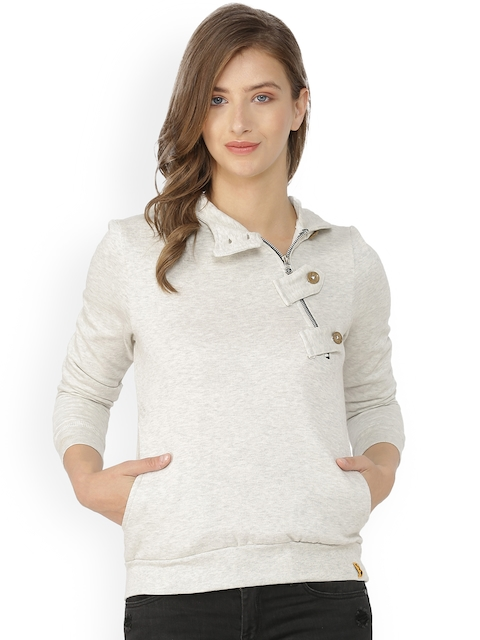 Campus Sutra Women Cream-Coloured Solid Sweatshirt