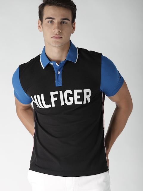 Tommy Hilfiger Men Black Printed Polo Collar T-shirt
