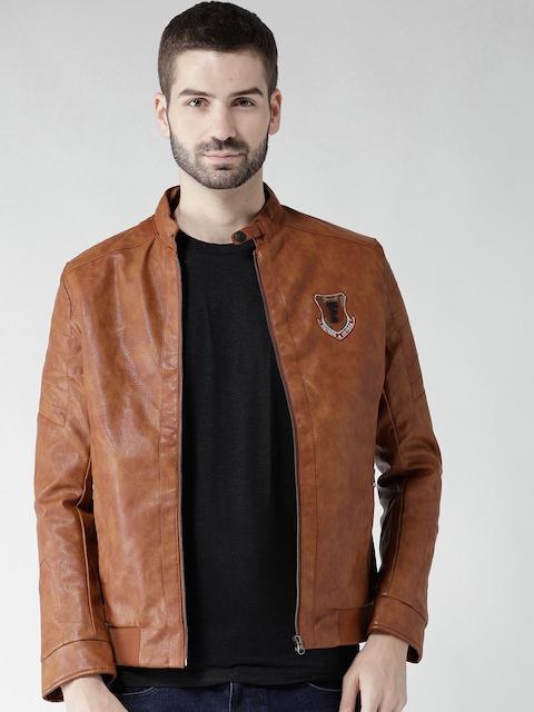Fort Collins Men Camel Brown Solid Biker Jacket