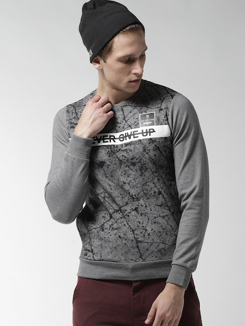 Fort Collins Men Grey & Black Printed Sweatshirt