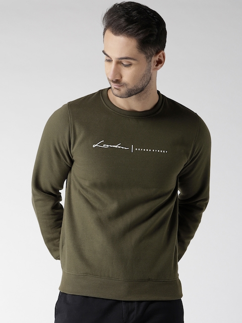 Fort Collins Men Olive Green Solid Sweatshirt