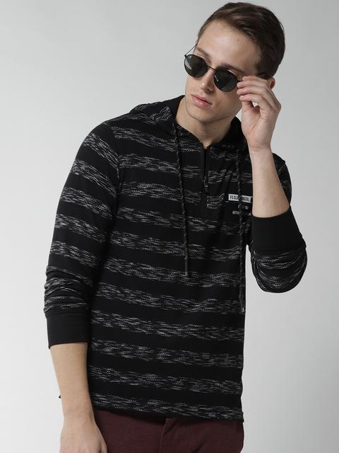 Fort Collins Men Black Striped Hooded Sweatshirt