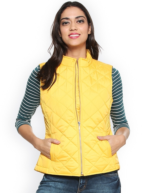 Allen Solly Woman Yellow Self Design Quilted Jacket