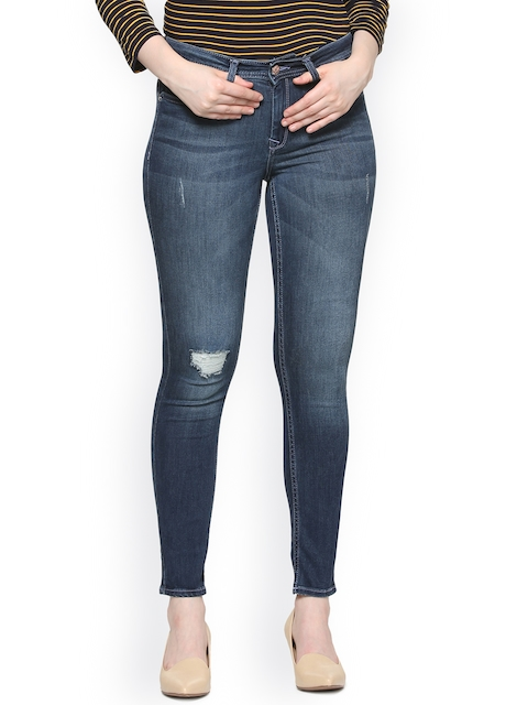 Allen Solly Woman Blue Slim Fit Mid-Rise Low Distress Stretchable Jeans
