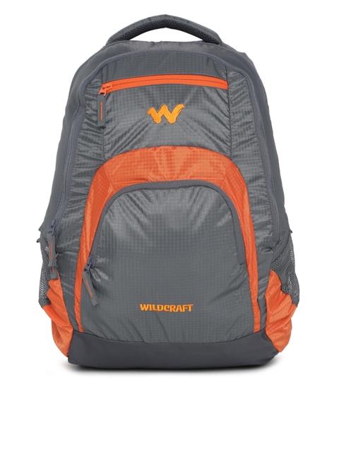 Wildcraft Unisex Grey & Orange Colourblocked Hopper 2 Laptop Backpack