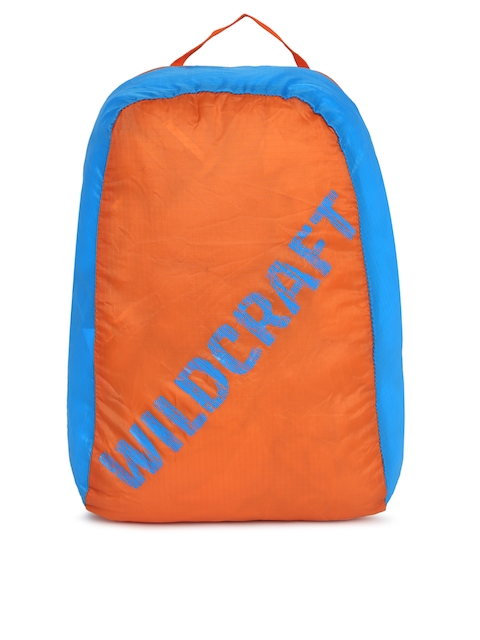 Wildcraft Unisex Orange & Blue Brand Logo Backpack