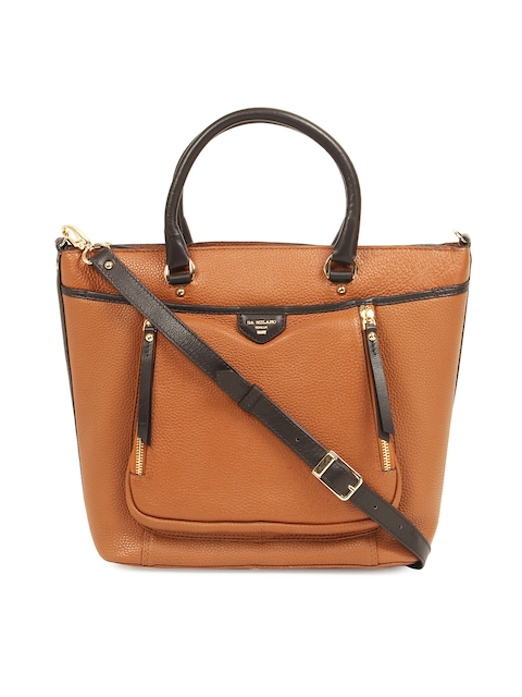 Da Milano Brown Solid Leather Handheld Bag