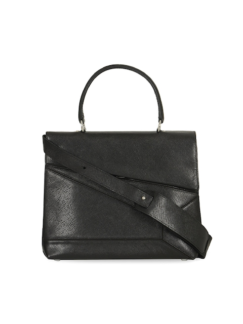 Da Milano Black Solid Handheld Leather Bag