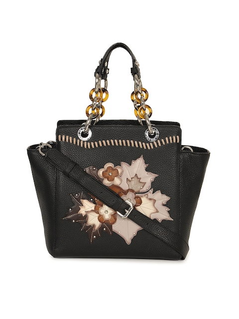 Da Milano Black Printed Handheld Leather Bag