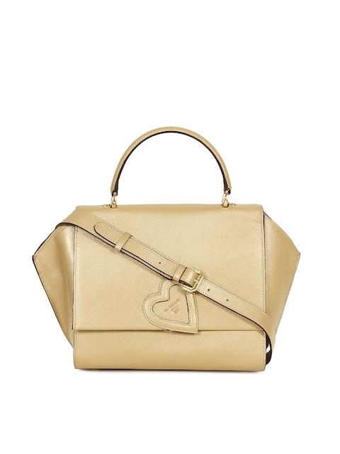Da Milano Beige & Gold-Toned Solid Handheld Leather Bag