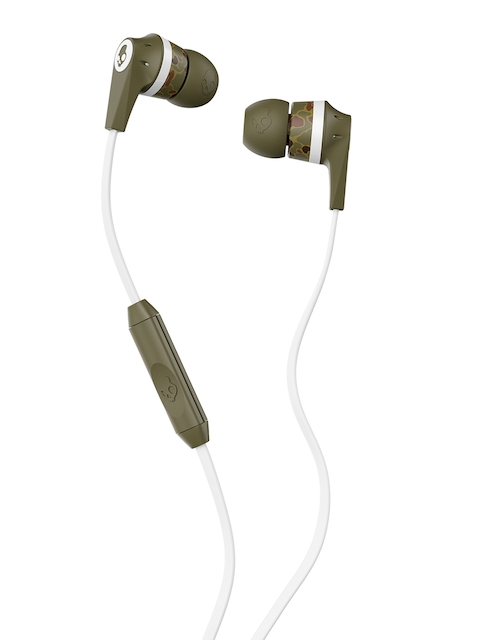 Skullcandy Inked White & Olive Green INKD In-Ear Headphones with Mic & Remote
