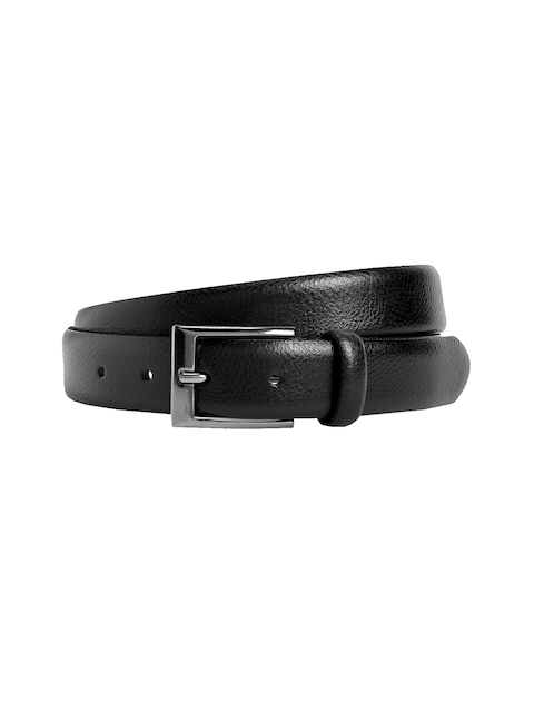 next Men Black Solid Leather Belt