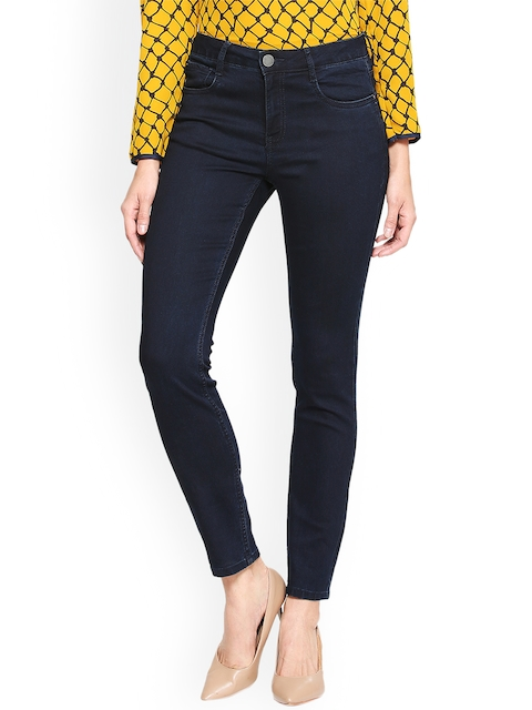 Van Heusen Woman Women Navy Blue Regular Fit Mid-Rise Clean Look Stretchable Jeans