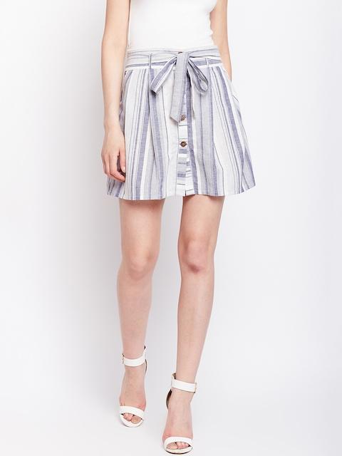 VividArtsy Women Blue & White Striped A-Line Mini Skirt