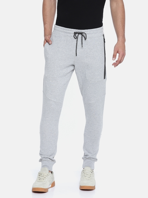 Jack & Jones Men Grey Melange Solid Slim Fit Joggers