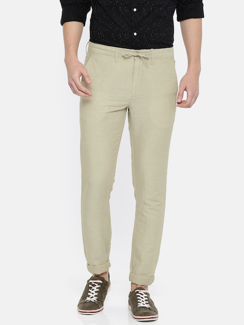Jack & Jones Men Beige Slim Fit Self Design Regular Trousers