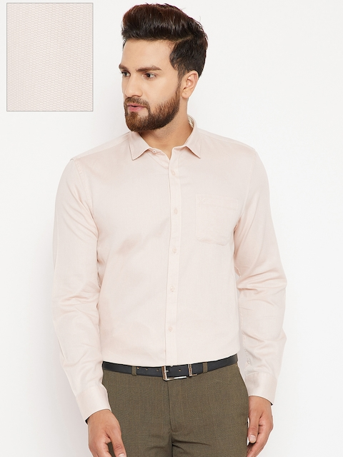 Blackberrys Men Beige Slim Fit Solid Formal Shirt