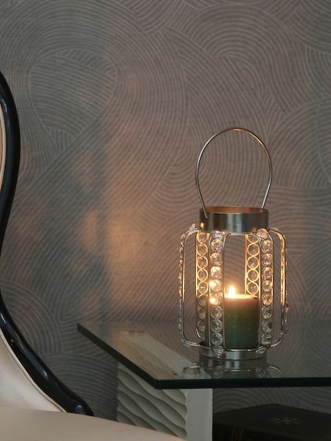 Athome by Nilkamal Silver & Grey Candle Holder
