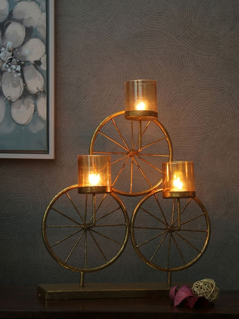 Athome by Nilkamal Gold-Toned Candle Holder