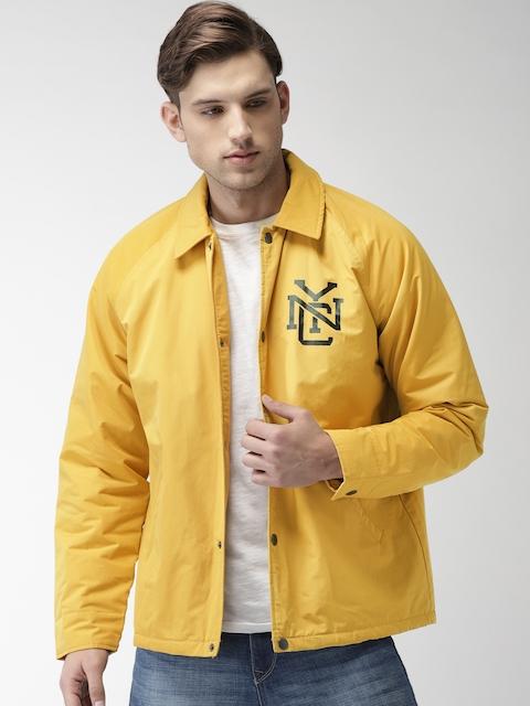 Aeropostale Men Yellow Solid Tailored Jacket
